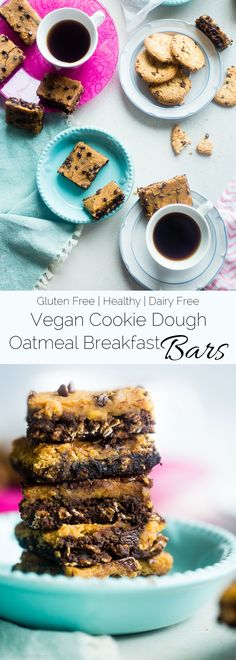 These Vegan Cookie Dough Oatmeal Breakfast Bars are perfect for an healthy grab and go breakfast. Plus they taste like cookie dough! Packed with real food plant based protein, chocolate chips, and gluten free oats. A healthy breakfast that tastes like des