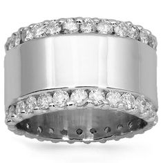 14K Solid White Gold Mens Diamond Custom Wedding Band 3.50 Ctw