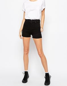 Image 4 of Dr Denim Galore High Waist Hot Pant Shorts