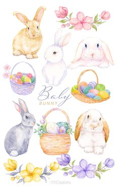 Watercolor Books, Watercolor Design, Baby Bunnies, Bunny, Easter Drawings, Easter Crafts, Easter Decor, Valentines Day Clipart, Easter Illustration