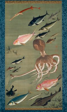 Fish, from Colorful Realm of Living Beings, ca. 1765-66 by Ito Jakuchu
