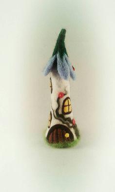 Needle Felted Fairy House, Fairy Houses, Mushroom Fairy House, Toadstool Fairy House, Pixie House, Fairy Cottage, OOAK, Fairy Ornaments, Enchanted Forest, Needle Felting Ideas, Elves and Fairies, Fairy Tale, Folklore, Handmade, Etsy, FeltbyLisa..