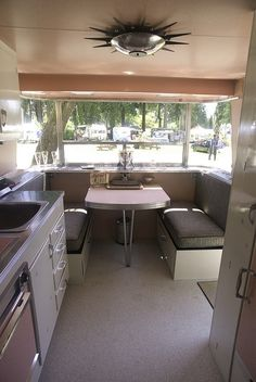 Gorgeous lines. vintage camper  Simple, Sweet and check out the ceiling light!