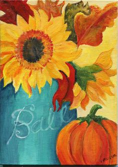 Items similar to Fall artwork, Sunflower PRINT of painting, 8 x leaves, pumpkin watercolor painting, Mason Jar art on Etsy Fall Canvas Painting, Autumn Painting, Autumn Art, Diy Canvas, Pumpkin Painting, Canvas Ideas, Canvas Art, Painting & Drawing, Watercolor Paintings