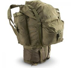 """Austrian Army Backpack are a three-piece military surplus backpack system, main pack, day pack & harness and its made of lightweight, but durable nylon military surplus backpacks. Very similar to the U.S. Alice pack. Main pack measures 16 1/2"""" x 17 1/2"""" x 7"""" deep. Smaller pack measures 13 1/2"""" x 15"""" x 4 1/2"""" deep. Weighs only 5lbs."""