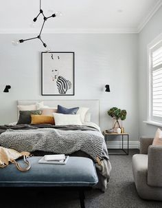 12 gorgeous grey bedroom design ideas Grey is a great colour for creating a beautiful, restful bedroom. Browse our favourite grey bedroom design ideas to inspire your scheme Grey Bedroom Design, Bedroom Colors, Home Decor Bedroom, Modern Bedroom, Contemporary Bedroom, Bedroom Designs, Scandinavian Interior Bedroom, Grey Bedroom With Pop Of Color, Bungalow Bedroom