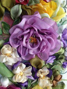 purple pretty ribbon flower