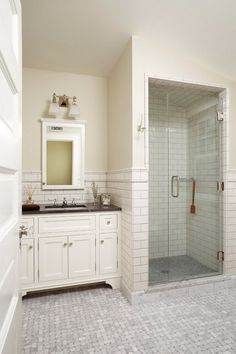 Small White Tiles in Classic Bathroom