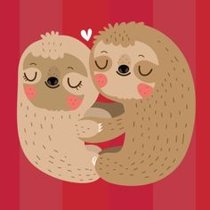 Cute sloths love illustration by mj da luz metal posters Baby Sloth, Cute Sloth, Unique Funny Gifts, Baby Animals, Cute Animals, Cute Animal Videos, My Spirit Animal, Cute Characters, Grafik Design