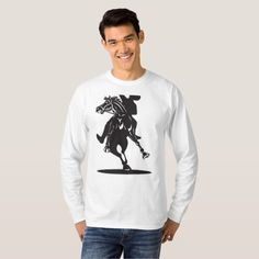 Rodeo Cowboy Riding Horse Shirt. Illustration of a rodeo cowboy riding horse retro style. #rodeo #olympics #sports #summergames #rio2016 #olympics2016