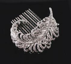 Bridal Brooch or Comb,  Wedding Head Piece,  Crystal Feather Haircomb. $49.00, via Etsy.