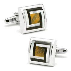 Tigers Eye Framed Maze Cufflinks - Ox And Bull Trading Co from Cufflinksman #cufflinks #fashion #jewelry