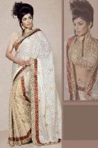 LOVE the blouse! White and Tan Brown Embroidered Wedding and Festival Brasso and Viscose Saree