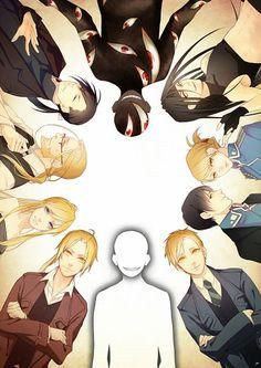 Fullmetal Alchemist: Al, Ed, Envy, Hohenheim, Ling, Riza, Roy, Truth, Pride, and Winry