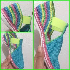 Crochet Sandals with elastic gusset. Crochet Slipper Boots, Crochet Sandals, Knit Shoes, Crochet Slippers, Crochet Shoes Pattern, Shoe Pattern, Crochet Patterns, Crochet Baby, Knit Crochet