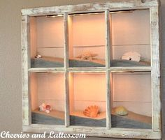 Latest discovery! A beach light box made from an old frame. Love this!