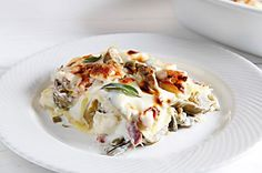 Ricetta Lasagne ai carciofi, taleggio e pancetta arrotolata