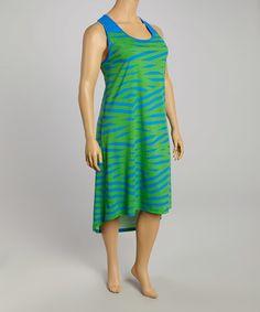 Love this Green & Royal Angular Stripe Hi-Low Dress - Plus on #zulily! #zulilyfinds