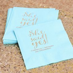Perfectly personalized gold and mint napkins for an engagement party