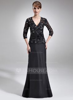 Mother of the Bride Dresses - $162.99 - A-Line/Princess V-neck Floor-Length Taffeta Lace Mother of the Bride Dress With Beading Flower(s) Sequins (008006045) http://jjshouse.com/A-Line-Princess-V-Neck-Floor-Length-Taffeta-Lace-Mother-Of-The-Bride-Dress-With-Beading-Flower-S-Sequins-008006045-g6045