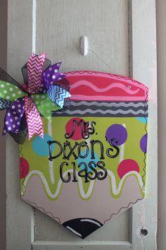 Teacher door decor, pencil door hanger, teacher gift, teacher appreciation, classroom decor   https://www.etsy.com/listing/197463017/pencil-door-hanger-back-to-school-door