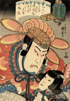 歌川国芳 御贔屓握虎木下 中村歌右衛門の真柴久吉、坂東勝次郎のてる若