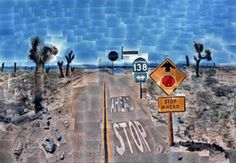 David Hockney<br> Pearblossom Hwy., 11-18th April 1986 (Second Version), 1986<br> photographic collage<br> 77 x 112 1/2 in. (195.58 x 285.75 cm) (fr)<br> Collection of the J. Paul Getty Museum, Los Angeles, CA