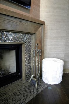 Updated fireplace Grey black glass tile decor tile