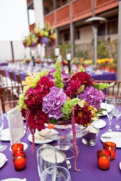 Purple destination wedding centerpiece idea /// photo credit: At First Blush & Co. Events