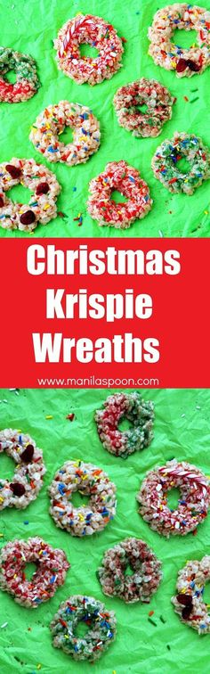 Have fun with your kids this Christmas by making these quick, easy and delicious NO BAKE Christmas Rice Krispie Wreaths. Decorate these festive wreaths with sprinkles, candy canes, fruits, etc....the possibilities are endless! FREEZABLE, too.   http://manilaspoon.com