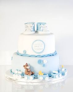 Baptism Cake with shoes cake