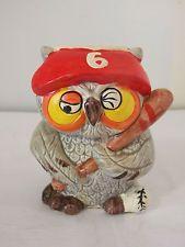"Vintage Rare Enesco Baseball Player Owl Savings Bank Ceramic 5"""