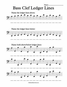 Free Bas Clef Ledger Lines Note Recognition Worksheet
