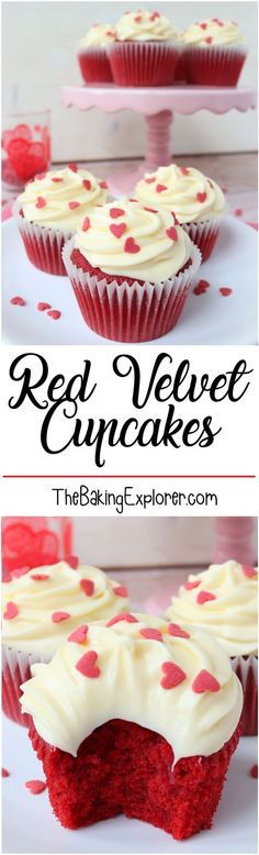 Red Velvet Cupcakes with Cream Cheese Frosting - perfect for Valentine's Day!