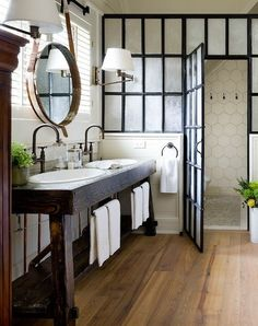 100 Cozy Rustic Farmhouse Bathroom Decor Ideas You Can Easily Copy - #farmhouse bathroom decor idea with centrally placed shower drain and knitted bathroom rug. Love it! #BathroomDecor #HomeDecorIdeas