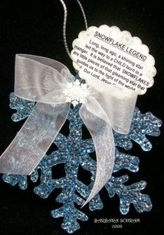 snowflake legend I think I can make Mylar embroidered stars for this project. Christmas Poems, Christmas Favors, Diy Christmas Ornaments, Homemade Christmas, Christmas Projects, Christmas Traditions, Holiday Crafts, Holiday Fun, Christmas Holidays
