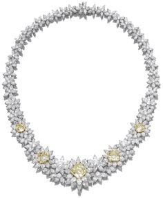 Diamond and fancy intense yellow diamond necklace.      Designed as a series of stylised flower head clusters set with marquise- and pear-shaped and brilliant-cut diamonds, enhanced at the front with five fancy intense yellow cut-cornered square modified brilliant-cut diamonds weighing 1.04, 1.06, 2.62, 2.81 and 6.31 carats, mounted in white and yellow gold, length approximately 390mm, pendant loop. Via Sotheby's.