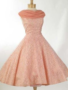 50s/60s White Lace over Coral Pink Taffeta Tea Length Party Dress