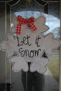 Holiday Snowflake Burlap Door Hanger by ThePoshPickle on Etsy