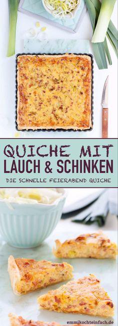 Quiche mit Lauch und Schinken - emmikochteinfach Cold Picnic Foods, Cold Meals, Easy Macaroni Salad, Picnic Menu, Picnic Essentials, Cold Sandwiches, Potluck Dishes, Summer Rolls, Easy Salad Recipes