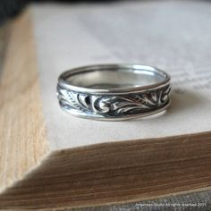 Swirl Wedding Band Ring Sterling Silver Wide by jorgensenstudio