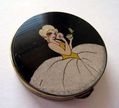 Unusual Metal Deco Glitter Lady Flapper Compact 1920s (04/17/2011)