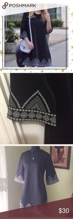 Black Embroidered Dress (GH23V14C) Round neck . Shoulder 38 sm, bust 93 sm, waist 88 sm, length 84,5 sm. Polyester .   Open to offers.  No Trade. Dresses Mini