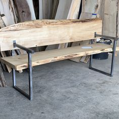 Industrial style live edge wood bench with back and side arms. Wood Bench With Back, Metal And Wood Bench, Diy Wood Bench, Bench Decor, Wood Table, Wooden Chair Plans, Wood Plans, Live Edge Table, Live Edge Wood