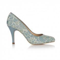 Rachel Simpson Amara Sage Green Lace Vintage Designer Wedding Shoes