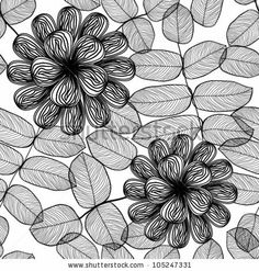 stock vector : Seamless stylish black and white floral pattern