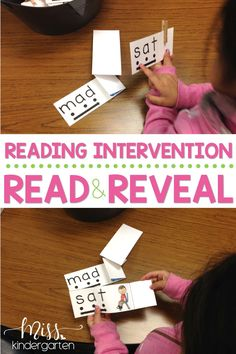 Read and Reveal cards make teaching reading fun! These reading intervention ideas are great for struggling readers both in lower grades and help them use their phonics strategies while reading. They are perfect for small groups, literacy centers, or intervention groups. #blendingsounds #CVCwords