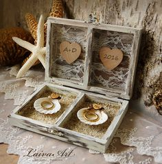 Beach Wedding Ring Bearer Pillow Box Rustic Ring by LaivaArt
