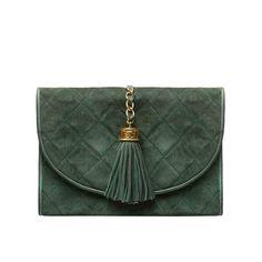 Pre-Owned Chanel Green Suede Tassel Clutch Fringe Handbags, Suede Handbags, Quilted Handbags, Burberry Handbags, Chanel Handbags, Fashion Handbags, Quilted Purse, Hermes Bags, Best Leather Wallet