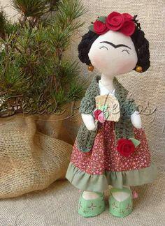 Pretty Frida Kahlo textile art doll